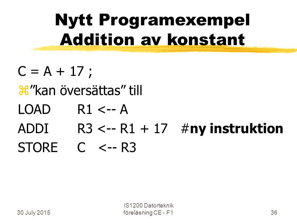 30 July 2015 IS1200 Datorteknik föreläsning CE - F136 Nytt Programexempel Addition av konstant C = A + 17 ; z kan översättas till LOADR1 <-- A ADDIR3 <-- R1 + 17 #ny instruktion STOREC <-- R3