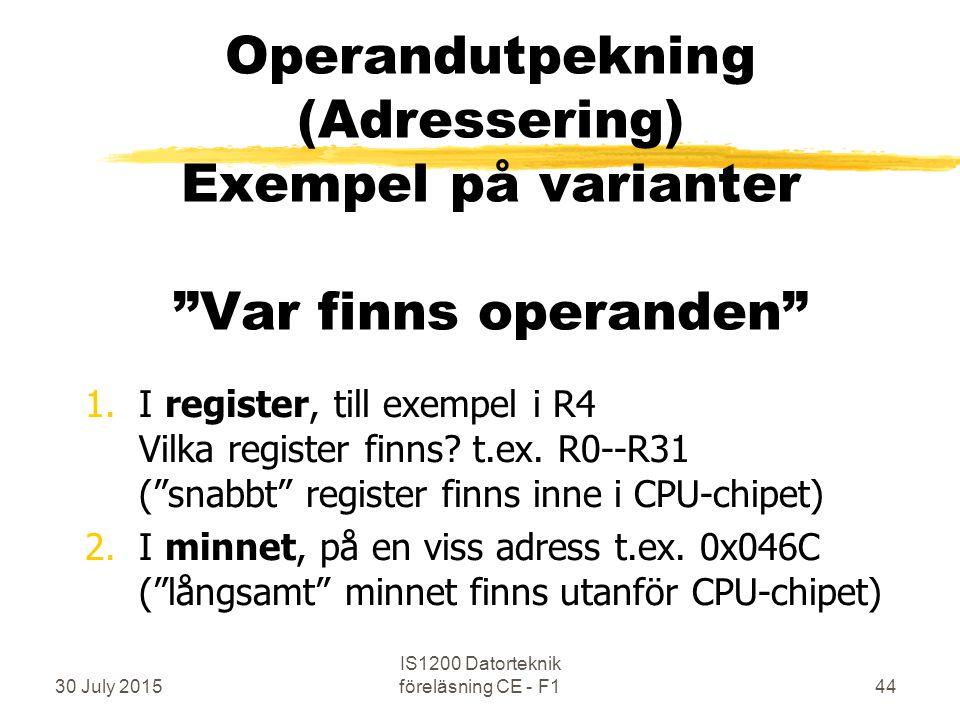 30 July 2015 IS1200 Datorteknik föreläsning CE - F144 Operandutpekning (Adressering) Exempel på varianter Var finns operanden 1.I register, till exempel i R4 Vilka register finns.