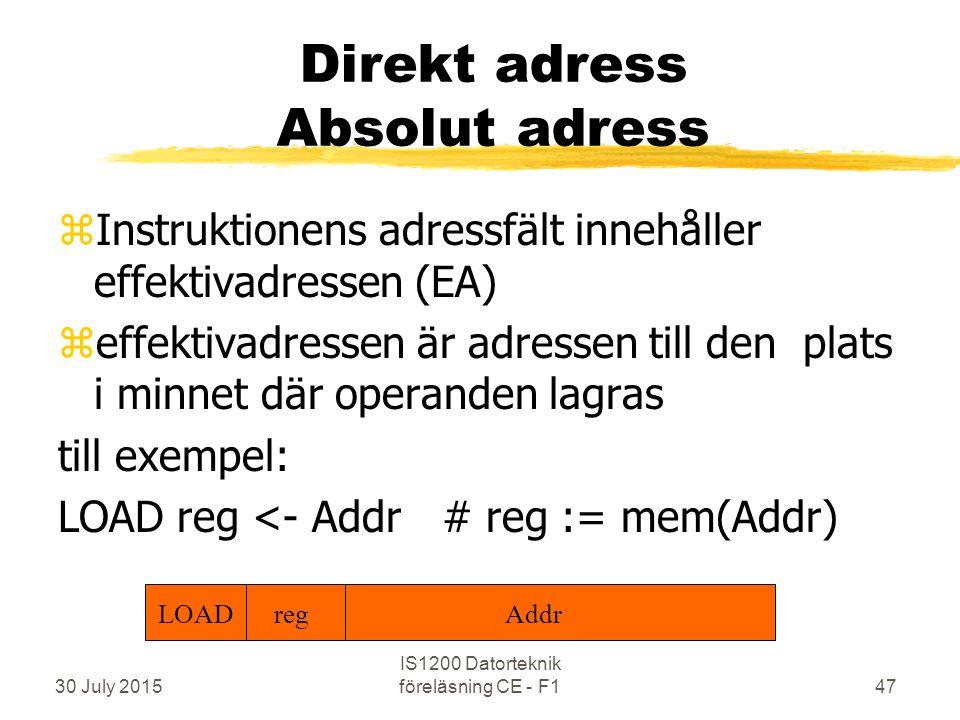 30 July 2015 IS1200 Datorteknik föreläsning CE - F147 Direkt adress Absolut adress zInstruktionens adressfält innehåller effektivadressen (EA) zeffektivadressen är adressen till den plats i minnet där operanden lagras till exempel: LOAD reg <- Addr# reg := mem(Addr) LOAD regAddr