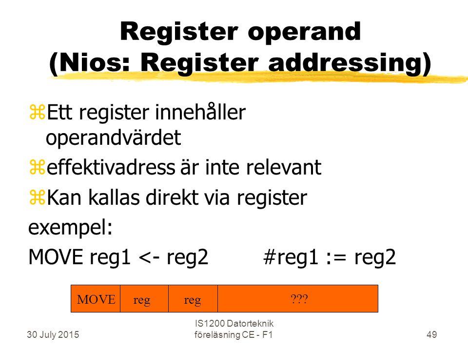 30 July 2015 IS1200 Datorteknik föreläsning CE - F149 Register operand (Nios: Register addressing) zEtt register innehåller operandvärdet zeffektivadress är inte relevant zKan kallas direkt via register exempel: MOVE reg1 <- reg2#reg1 := reg2 MOVE reg ???