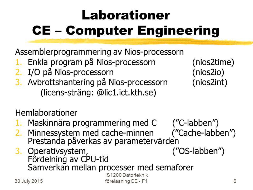 30 July 2015 IS1200 Datorteknik föreläsning CE - F16 Laborationer CE – Computer Engineering Assemblerprogrammering av Nios-processorn 1.Enkla program på Nios-processorn (nios2time) 2.I/O på Nios-processorn (nios2io) 3.Avbrottshantering på Nios-processorn (nios2int) (licens-sträng: @lic1.ict.kth.se) Hemlaborationer 1.Maskinnära programmering med C ( C-labben ) 2.Minnessystem med cache-minnen ( Cache-labben ) Prestanda påverkas av parametervärden 3.Operativsystem, ( OS-labben ) Fördelning av CPU-tid Samverkan mellan processer med semaforer