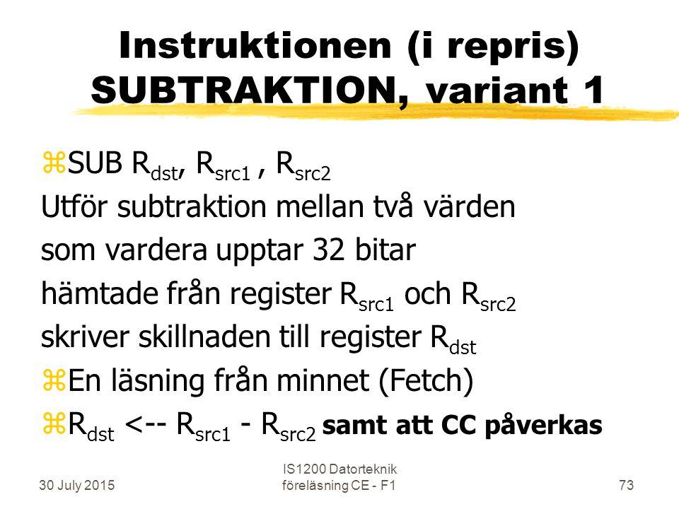 30 July 2015 IS1200 Datorteknik föreläsning CE - F173 Instruktionen (i repris) SUBTRAKTION, variant 1 zSUB R dst, R src1, R src2 Utför subtraktion mellan två värden som vardera upptar 32 bitar hämtade från register R src1 och R src2 skriver skillnaden till register R dst zEn läsning från minnet (Fetch) zR dst <-- R src1 - R src2 samt att CC påverkas