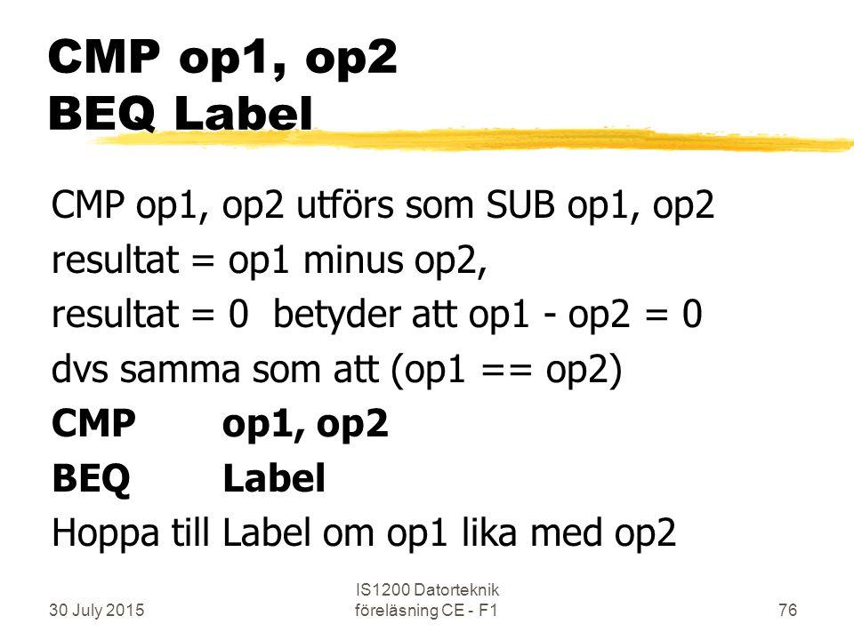 30 July 2015 IS1200 Datorteknik föreläsning CE - F176 CMP op1, op2 BEQ Label CMP op1, op2 utförs som SUB op1, op2 resultat = op1 minus op2, resultat = 0 betyder att op1 - op2 = 0 dvs samma som att (op1 == op2) CMP op1, op2 BEQLabel Hoppa till Label om op1 lika med op2