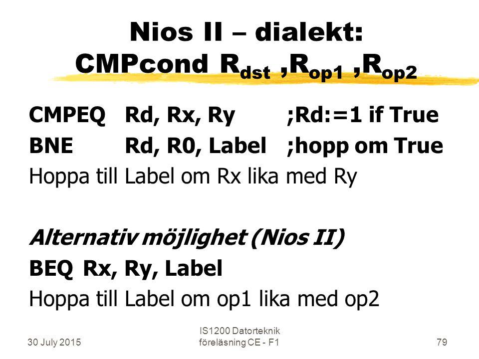 30 July 2015 IS1200 Datorteknik föreläsning CE - F179 Nios II – dialekt: CMPcond R dst,R op1,R op2 CMPEQ Rd, Rx, Ry ;Rd:=1 if True BNERd, R0, Label ;hopp om True Hoppa till Label om Rx lika med Ry Alternativ möjlighet (Nios II) BEQ Rx, Ry, Label Hoppa till Label om op1 lika med op2