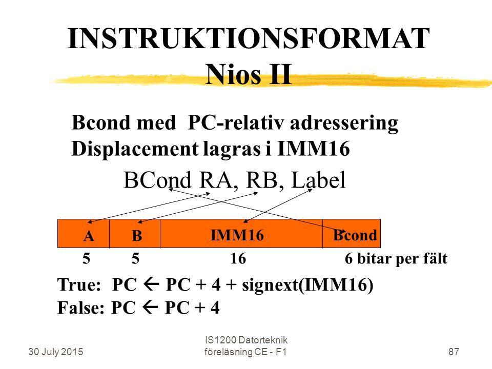 30 July 2015 IS1200 Datorteknik föreläsning CE - F187 Bcond med PC-relativ adressering Displacement lagras i IMM16 BCond RA, RB, Label INSTRUKTIONSFORMAT Nios II 5 5 16 6 bitar per fält Bcond BA IMM16 True: PC  PC + 4 + signext(IMM16) False: PC  PC + 4