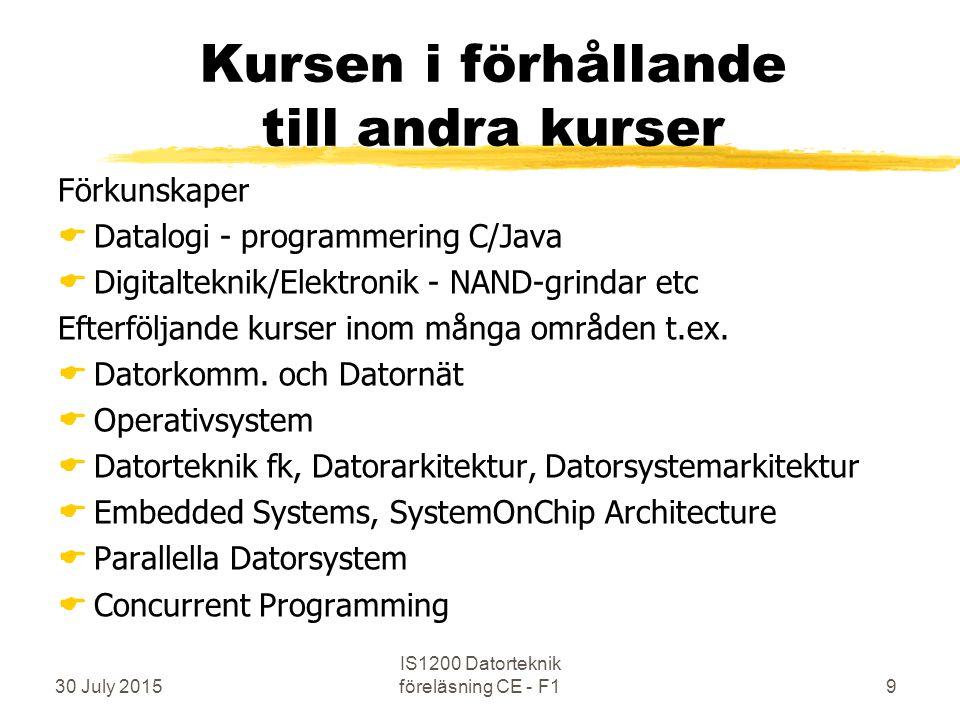 30 July 2015 IS1200 Datorteknik föreläsning CE - F19 Kursen i förhållande till andra kurser Förkunskaper  Datalogi - programmering C/Java  Digitalteknik/Elektronik - NAND-grindar etc Efterföljande kurser inom många områden t.ex.