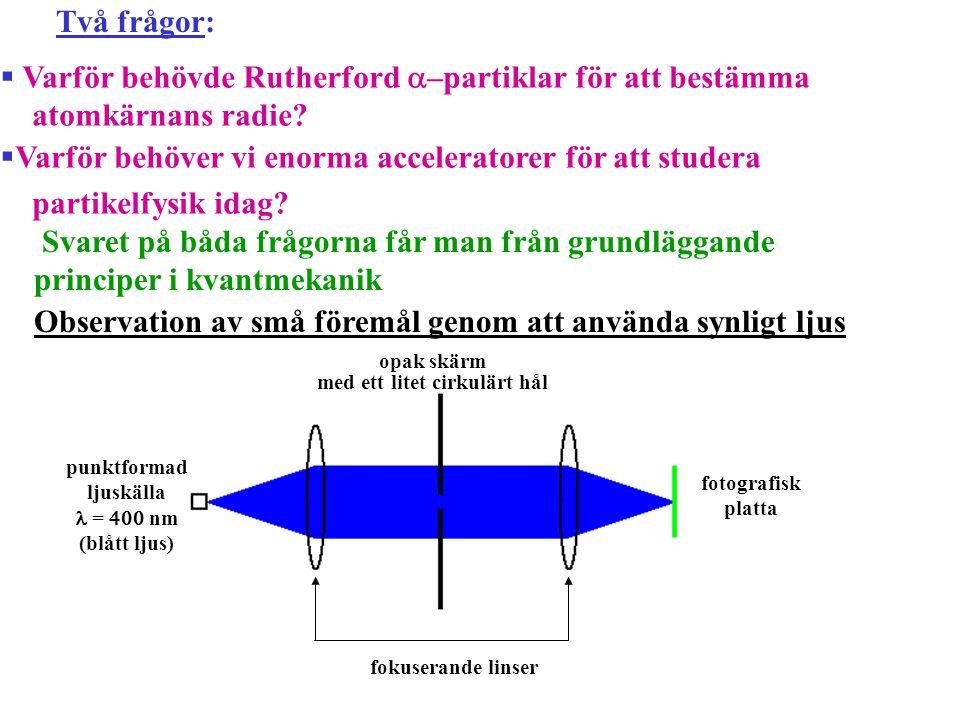 Två frågor:  Varför behövde Rutherford  –partiklar för att bestämma atomkärnans radie?  Varför behöver vi enorma acceleratorer för att studera part