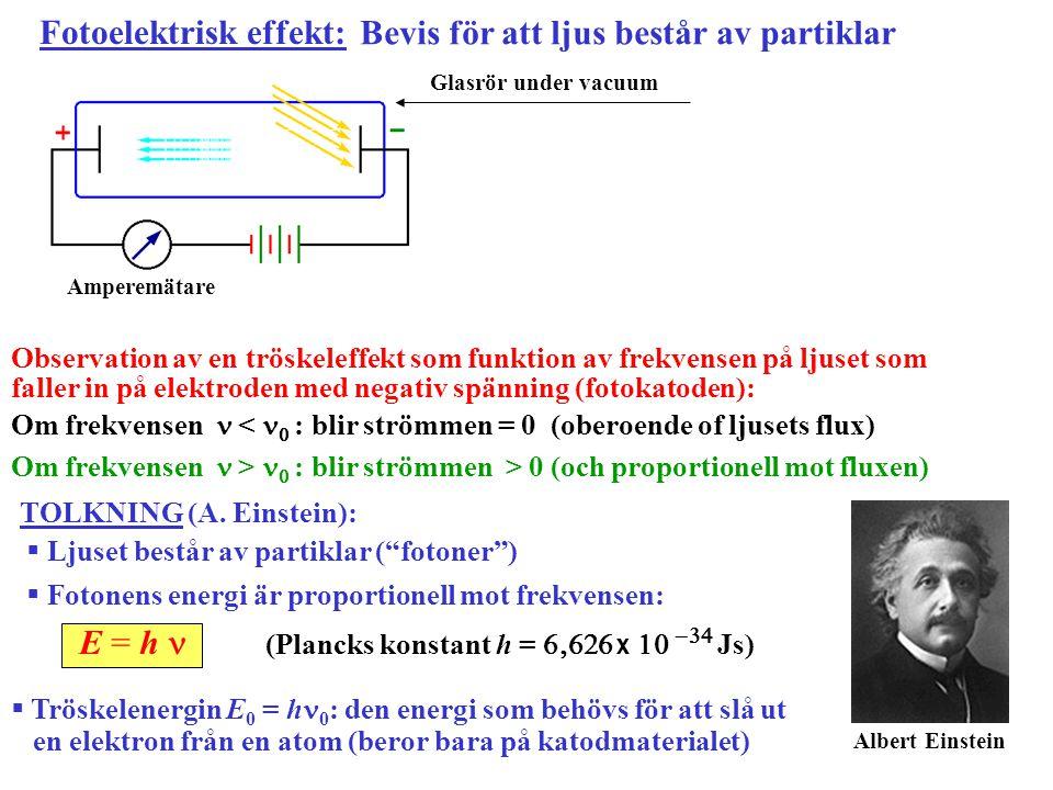 Observation av en tröskeleffekt som funktion av frekvensen på ljuset som faller in på elektroden med negativ spänning (fotokatoden): Om frekvensen < 