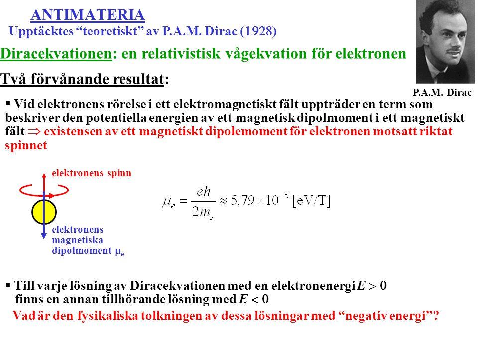 """ANTIMATERIA Upptäcktes """"teoretiskt"""" av P.A.M. Dirac (  ) P.A.M. Dirac Diracekvationen: en relativistisk vågekvation för elektronen Två förvånande"""