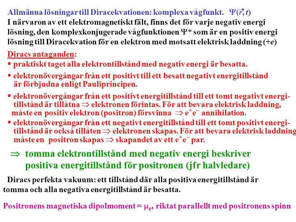 Allmänna lösningar till Diracekvationen: komplexa vågfunkt.  (r, t) I närvaron av ett elektromagnetiskt fält, finns det för varje negativ energi lösn