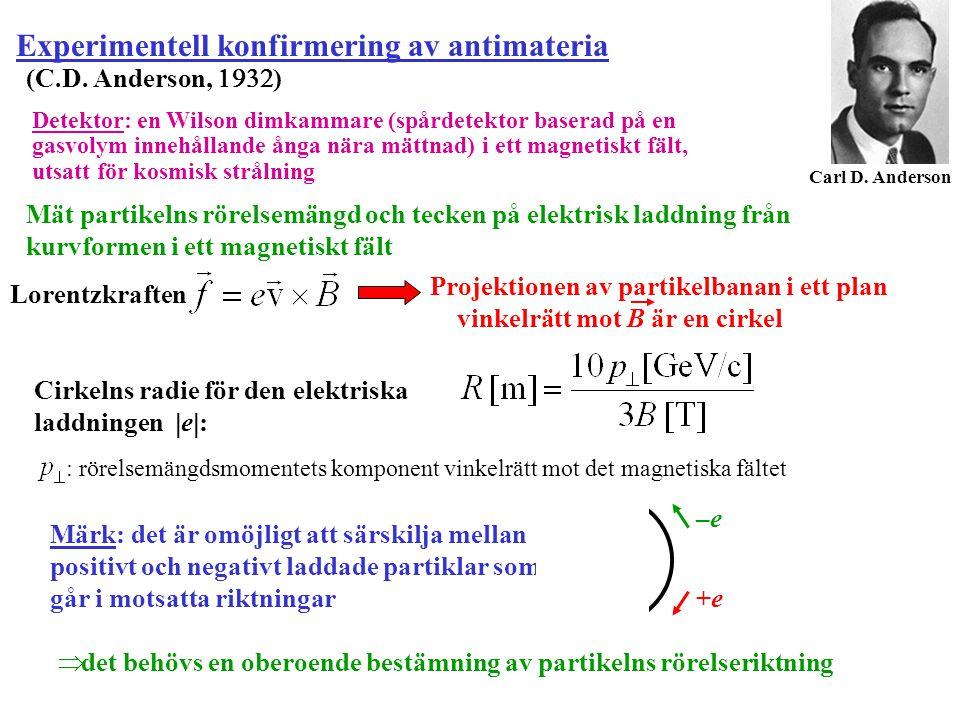 Experimentell konfirmering av antimateria (C.D. Anderson,  ) Carl D. Anderson Detektor: en Wilson dimkammare (spårdetektor baserad på en gasvolym