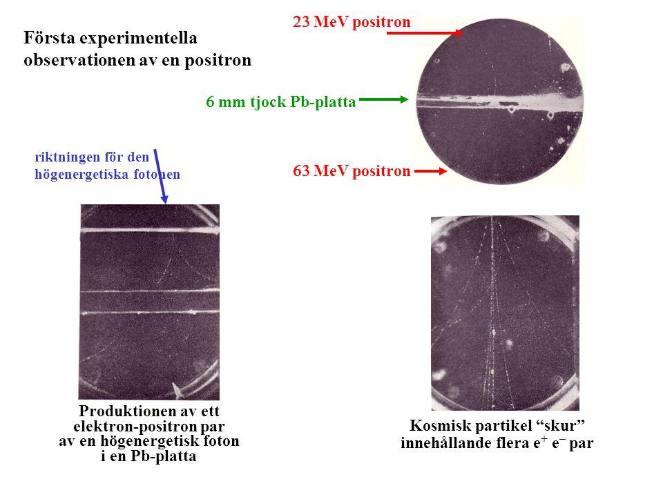 Första experimentella observationen av en positron  mm tjock Pb-platta  MeV positron  MeV positron Produktionen av ett elektron-positron par av e