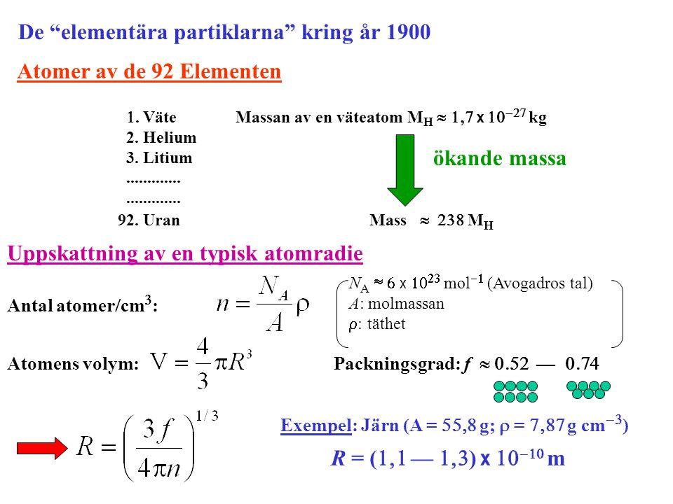 Atomer av de 92 Elementen . Väte Massan av en väteatom M H   x   kg 2. Helium 3. Litium............. 92. Uran Mass   M H ökande massa U