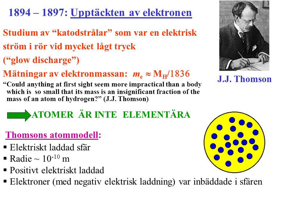 radioaktiv källa  partiklar target/mål (väldigt tunn guldfoile) fluorescerande skärm detektor (mänskligt öga) 1896: Upptäckten av naturlig radioaktivitet (Henri Becquerel) Henri Becquerel  : Rutherfords spridninsexperiment Upptäckten av atomkärnan Ernest Rutherford  partiklar  : Kärnor av heliumatomer som sänds ut spontant av tunga radioaktiva isotoper.