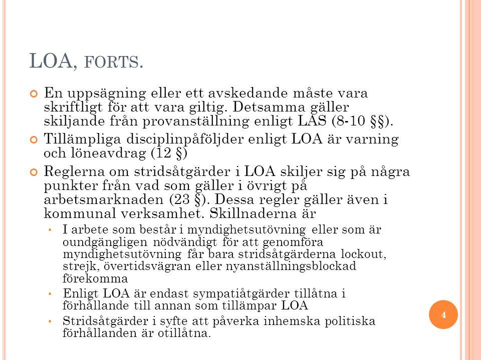 LOA, FORTS. En uppsägning eller ett avskedande måste vara skriftligt för att vara giltig. Detsamma gäller skiljande från provanställning enligt LAS (8