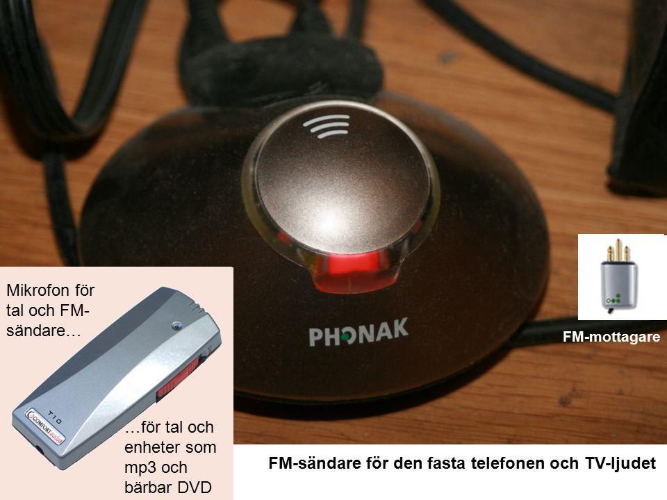 FM-sändare för den fasta telefonen och TV-ljudet Mikrofon för tal och FM- sändare… FM-mottagare …för tal och enheter som mp3 och bärbar DVD