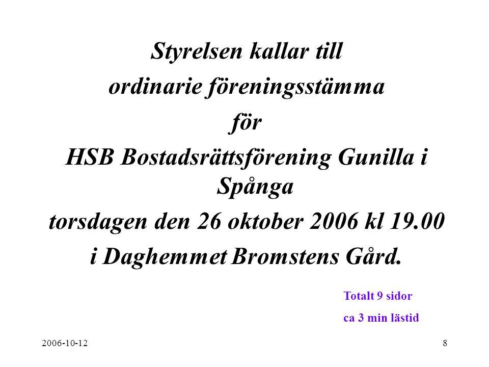 2006-10-128 Styrelsen kallar till ordinarie föreningsstämma för HSB Bostadsrättsförening Gunilla i Spånga torsdagen den 26 oktober 2006 kl 19.00 i Dag