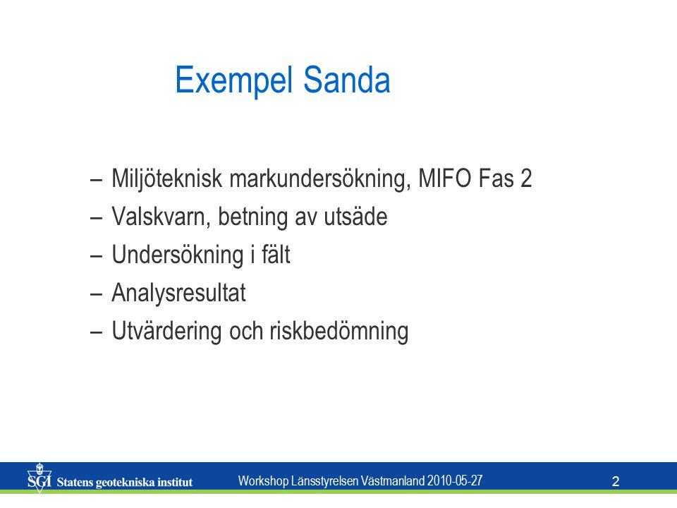 Workshop Länsstyrelsen Västmanland 2010-05-27 3 Exempel Eskilstuna Exploatering för bostadsändamål Miljöteknisk markundersökning utförd Enstaka provpunkter på vissa fastigheter Förslag till platsspecifika riktvärden