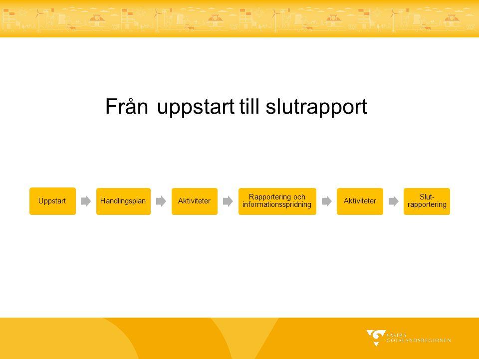 Från uppstart till slutrapport UppstartHandlingsplanAktiviteter Rapportering och informationsspridning Aktiviteter Slut- rapportering