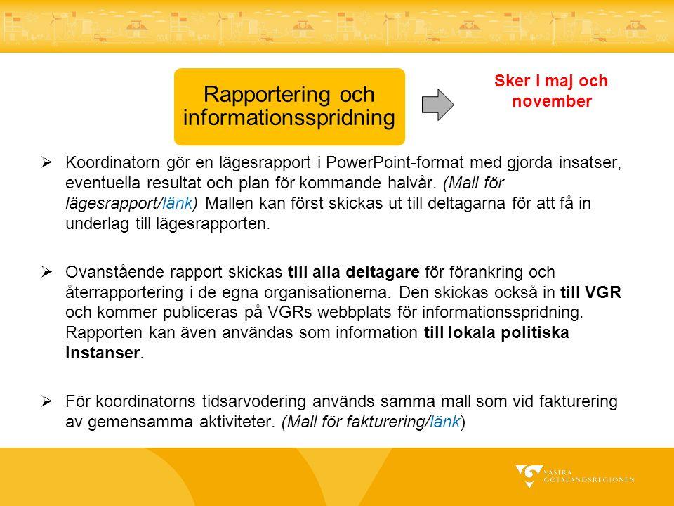 Rapportering och informationsspridning  Koordinatorn gör en lägesrapport i PowerPoint-format med gjorda insatser, eventuella resultat och plan för ko