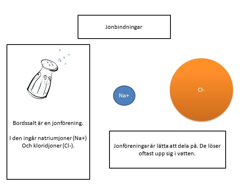 Bordssalt är en jonförening. I den ingår natriumjoner (Na+) Och kloridjoner (Cl-). Jonbindningar Na+ Cl- Jonföreningar är lätta att dela på. De löser