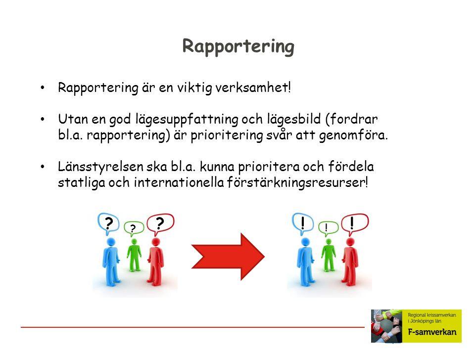 Rapportering Rapportering är en viktig verksamhet! Utan en god lägesuppfattning och lägesbild (fordrar bl.a. rapportering) är prioritering svår att ge