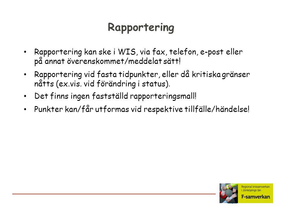 Rapportering Det finns ingen fastställd rapporteringsmall! Rapportering kan ske i WIS, via fax, telefon, e-post eller på annat överenskommet/meddelat
