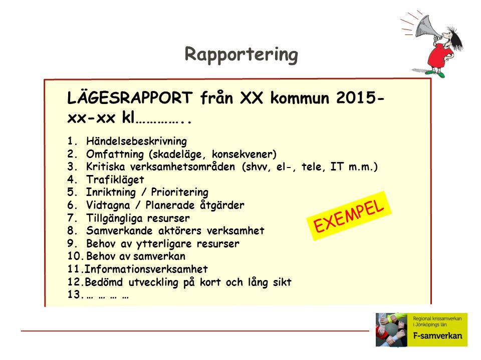 Rapportering LÄGESRAPPORT från XX kommun 2015- xx-xx kl………….. 1.Händelsebeskrivning 2.Omfattning (skadeläge, konsekvener) 3.Kritiska verksamhetsområde