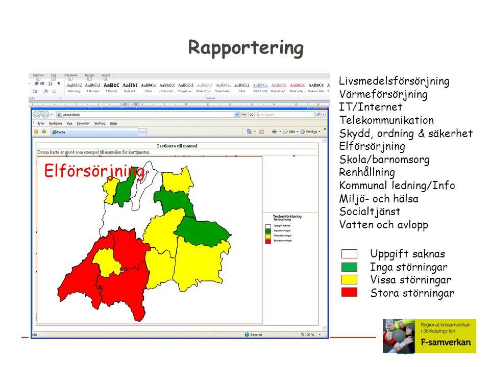 Rapportering Livsmedelsförsörjning Värmeförsörjning IT/Internet Telekommunikation Skydd, ordning & säkerhet Elförsörjning Skola/barnomsorg Renhållning
