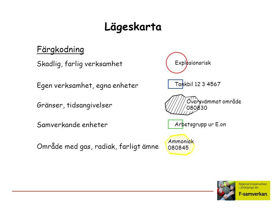 Lägeskarta Färgkodning Skadlig, farlig verksamhet Egen verksamhet, egna enheter Gränser, tidsangivelser Samverkande enheter Område med gas, radiak, fa