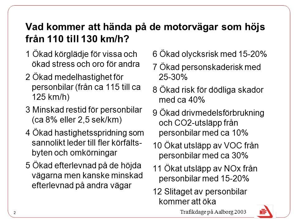 2 Vad kommer att hända på de motorvägar som höjs från 110 till 130 km/h? 1 Ökad körglädje för vissa och ökad stress och oro för andra 2 Ökad medelhast