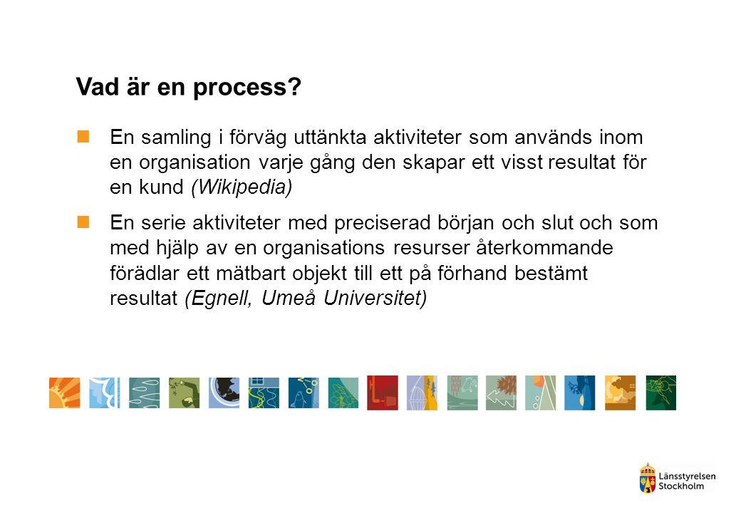 Vad är en process? En samling i förväg uttänkta aktiviteter som används inom en organisation varje gång den skapar ett visst resultat för en kund (Wik