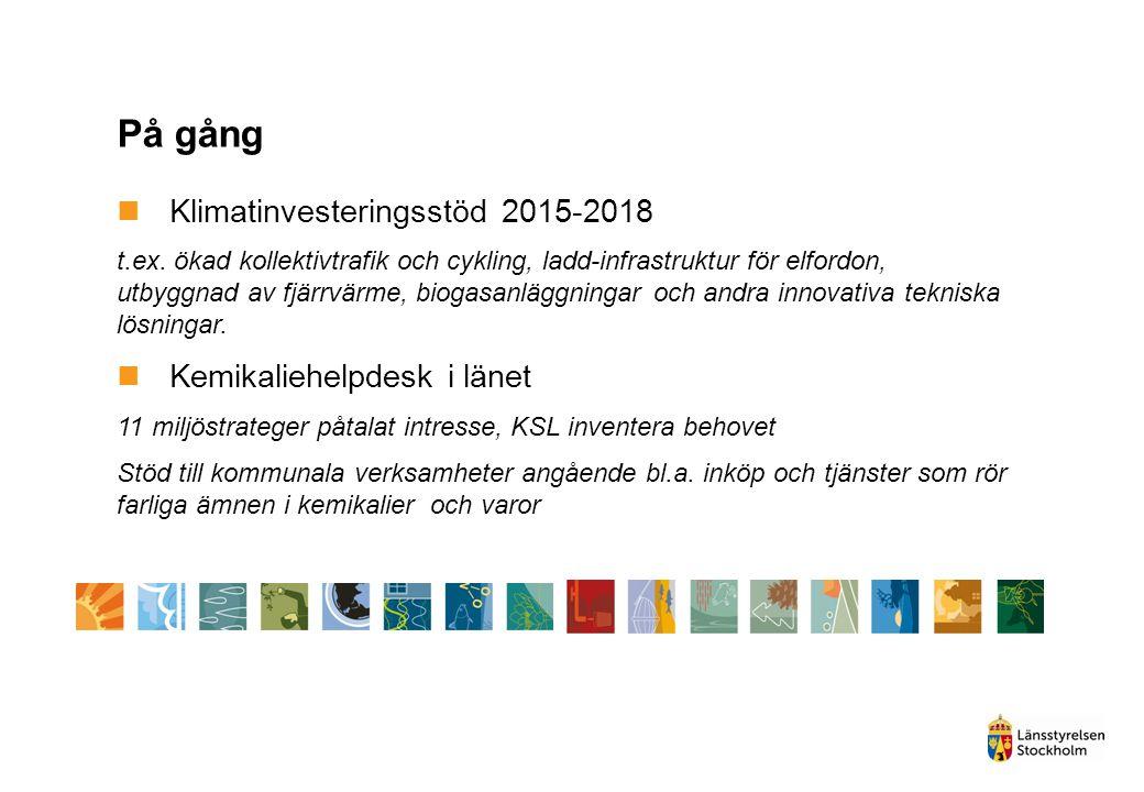 På gång Klimatinvesteringsstöd 2015-2018 t.ex. ökad kollektivtrafik och cykling, ladd-infrastruktur för elfordon, utbyggnad av fjärrvärme, biogasanläg
