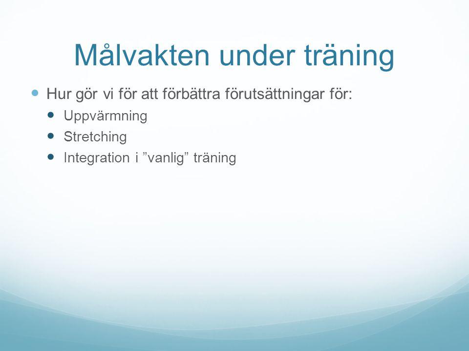 Målvakten under träning Hur gör vi för att förbättra förutsättningar för: Uppvärmning Stretching Integration i vanlig träning