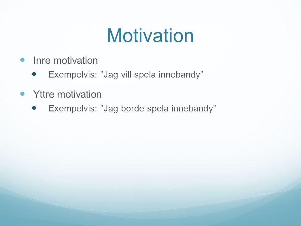 Motivation Inre motivation Exempelvis: Jag vill spela innebandy Yttre motivation Exempelvis: Jag borde spela innebandy