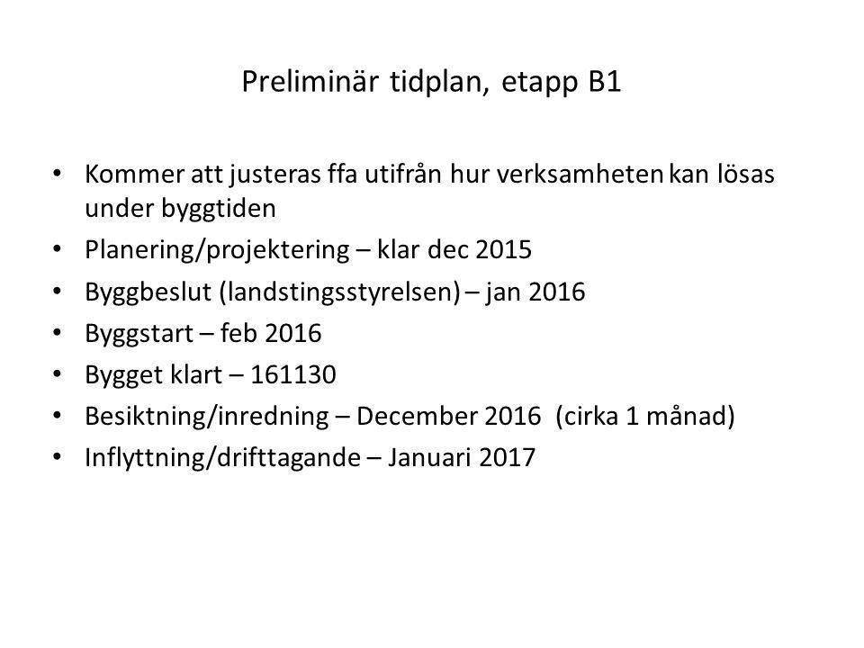 Preliminär tidplan, etapp B1 Kommer att justeras ffa utifrån hur verksamheten kan lösas under byggtiden Planering/projektering – klar dec 2015 Byggbeslut (landstingsstyrelsen) – jan 2016 Byggstart – feb 2016 Bygget klart – 161130 Besiktning/inredning – December 2016 (cirka 1 månad) Inflyttning/drifttagande – Januari 2017