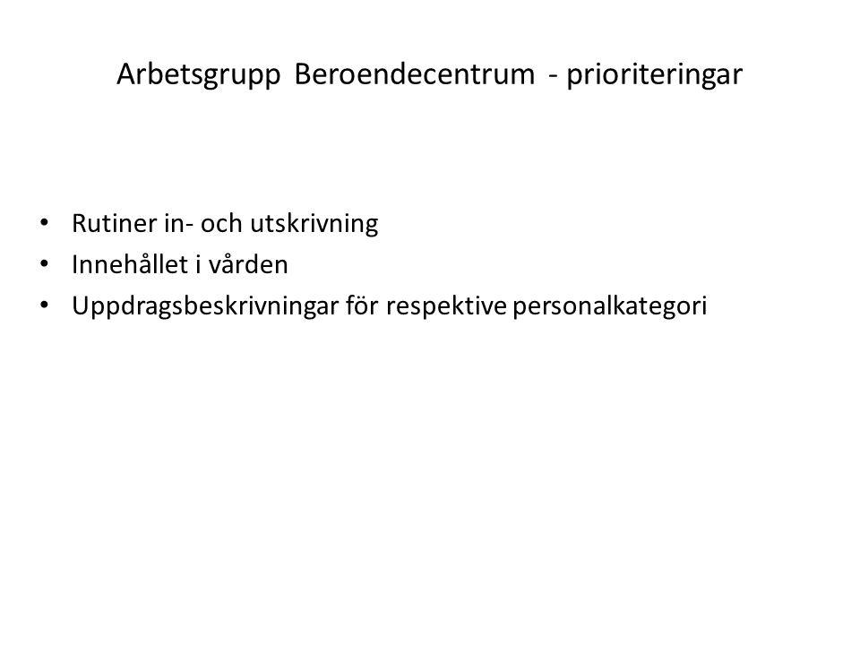 Arbetsgrupp Beroendecentrum - prioriteringar Rutiner in- och utskrivning Innehållet i vården Uppdragsbeskrivningar för respektive personalkategori