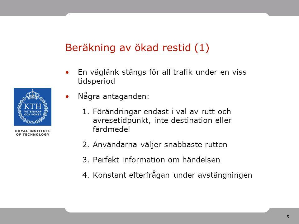 5 Beräkning av ökad restid (1) En väglänk stängs för all trafik under en viss tidsperiod Några antaganden: 1.Förändringar endast i val av rutt och avresetidpunkt, inte destination eller färdmedel 2.Användarna väljer snabbaste rutten 3.Perfekt information om händelsen 4.Konstant efterfrågan under avstängningen