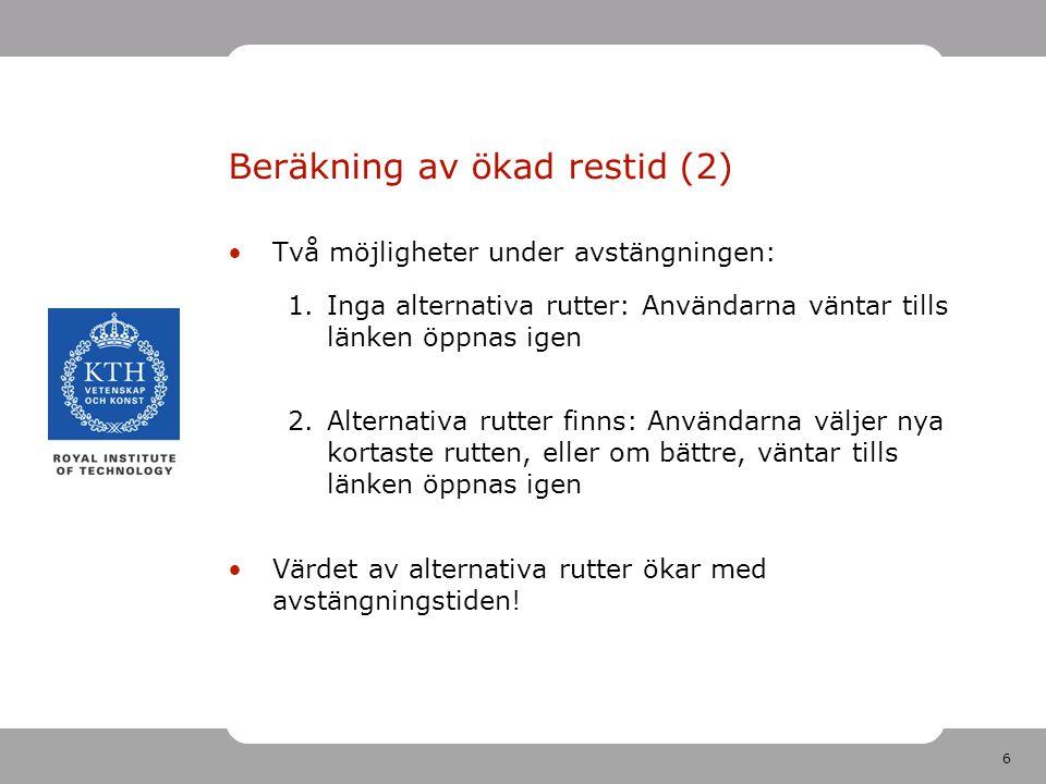 6 Beräkning av ökad restid (2) Två möjligheter under avstängningen: 1.Inga alternativa rutter: Användarna väntar tills länken öppnas igen 2.Alternativ