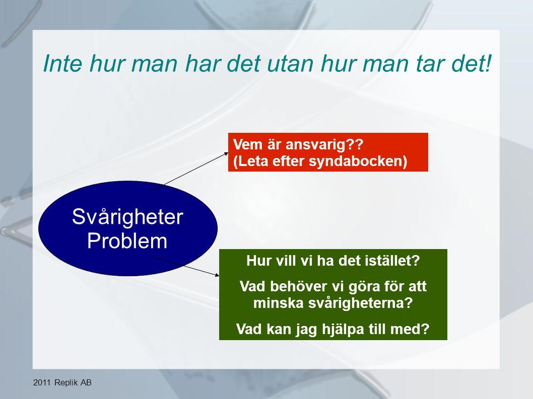 2011 Replik AB En bra arbetsplats Ordning och reda Samarbete med fokus på lösningar Mina egna insatser Säkerhet + Trivsel