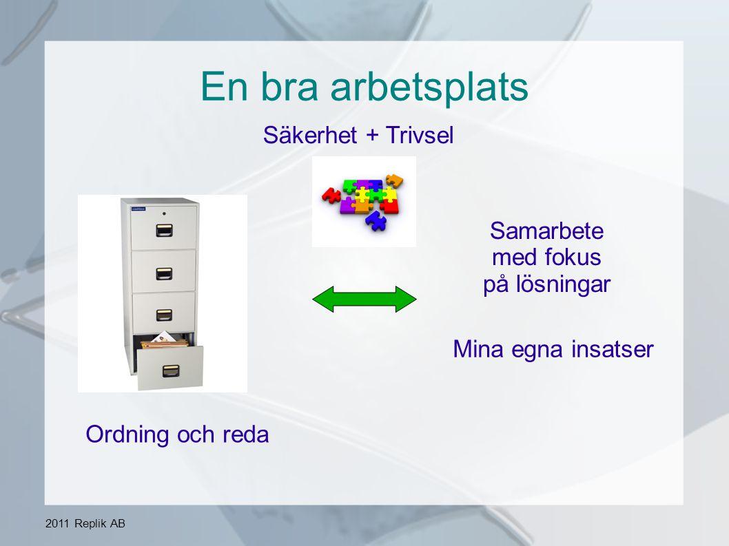 2011 Replik AB En bra arbetsplats Arbetsgivaren har ett grundansvar men utan medarbetarnas aktiva medverkan händer inget.