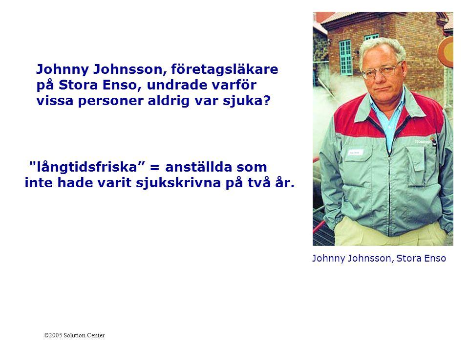 ©2005 Solution Center Johnny Johnsson, Stora Enso Johnny Johnsson, företagsläkare på Stora Enso, undrade varför vissa personer aldrig var sjuka?