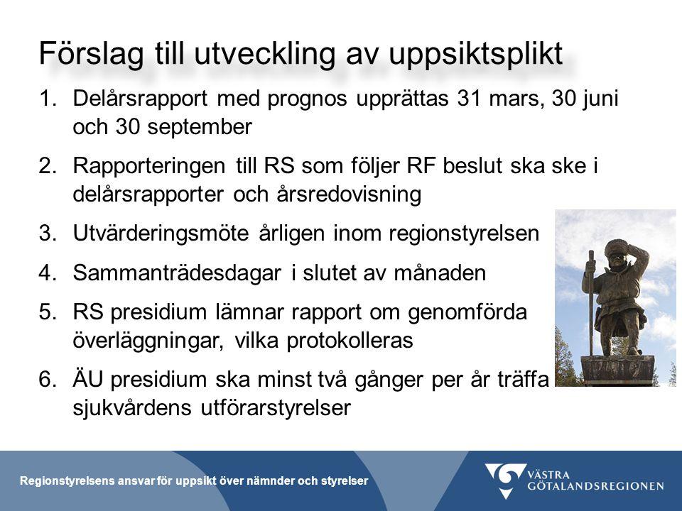 Förslag till utveckling av uppsiktsplikt 1.Delårsrapport med prognos upprättas 31 mars, 30 juni och 30 september 2.Rapporteringen till RS som följer RF beslut ska ske i delårsrapporter och årsredovisning 3.Utvärderingsmöte årligen inom regionstyrelsen 4.Sammanträdesdagar i slutet av månaden 5.RS presidium lämnar rapport om genomförda överläggningar, vilka protokolleras 6.ÄU presidium ska minst två gånger per år träffa sjukvårdens utförarstyrelser Regionstyrelsens ansvar för uppsikt över nämnder och styrelser