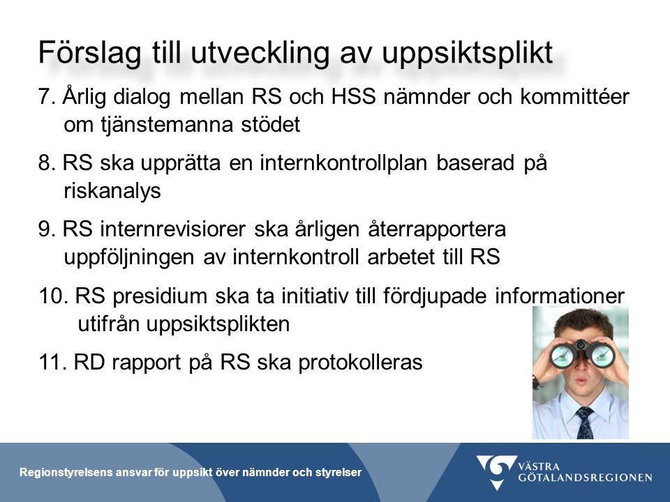 Förslag till utveckling av uppsiktsplikt 7.