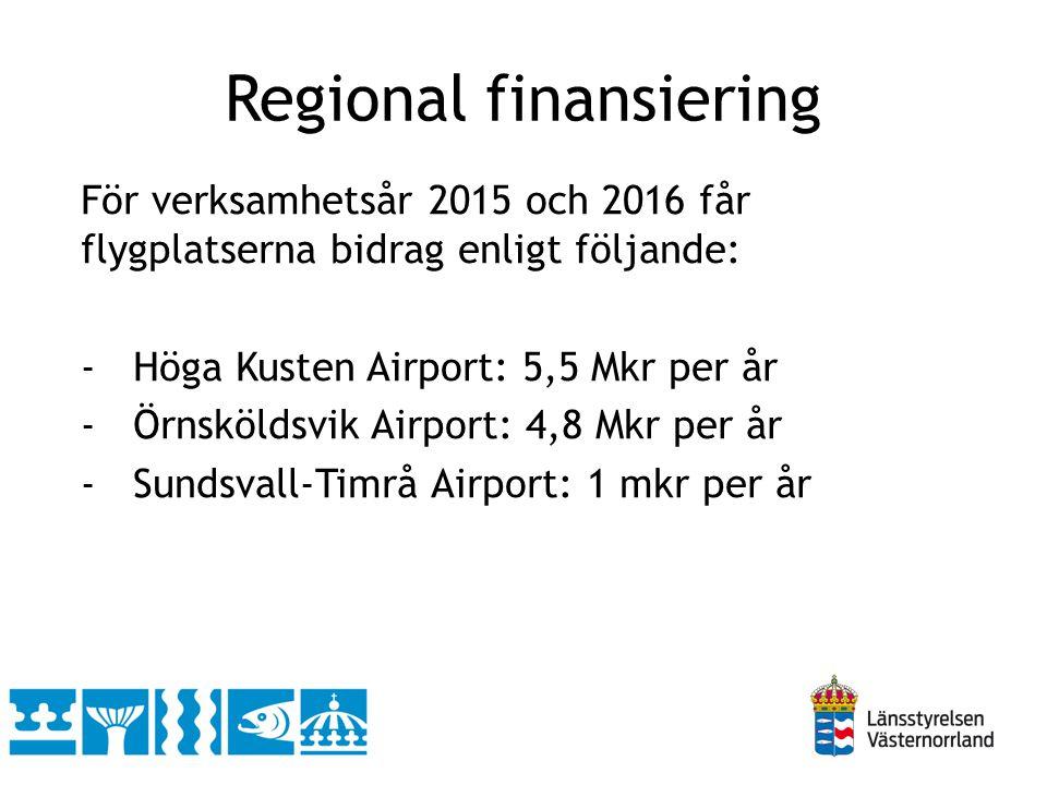 För verksamhetsår 2015 och 2016 får flygplatserna bidrag enligt följande: -Höga Kusten Airport: 5,5 Mkr per år -Örnsköldsvik Airport: 4,8 Mkr per år -Sundsvall-Timrå Airport: 1 mkr per år Regional finansiering