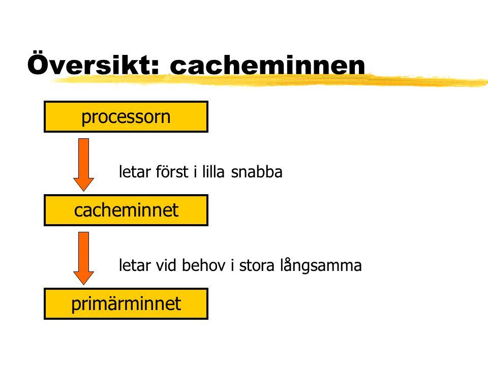 Översikt: cacheminnen processorn cacheminnet primärminnet letar först i lilla snabba letar vid behov i stora långsamma