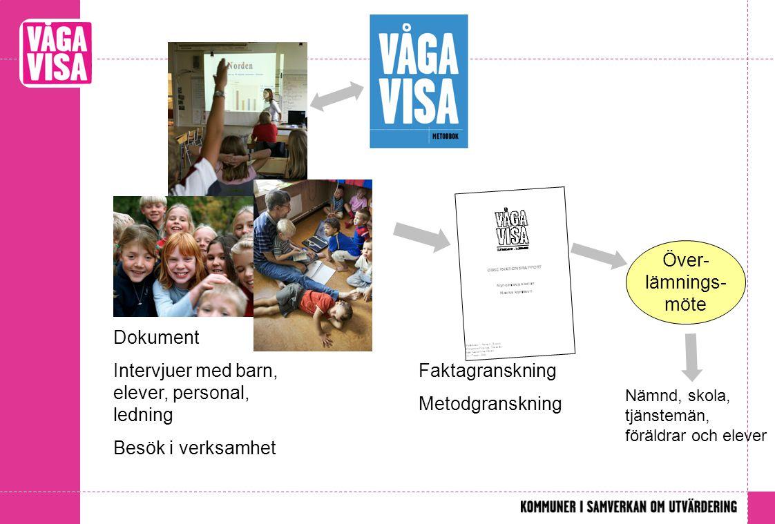 Faktagranskning Metodgranskning Dokument Intervjuer med barn, elever, personal, ledning Besök i verksamhet Över- lämnings- möte Nämnd, skola, tjänstemän, föräldrar och elever