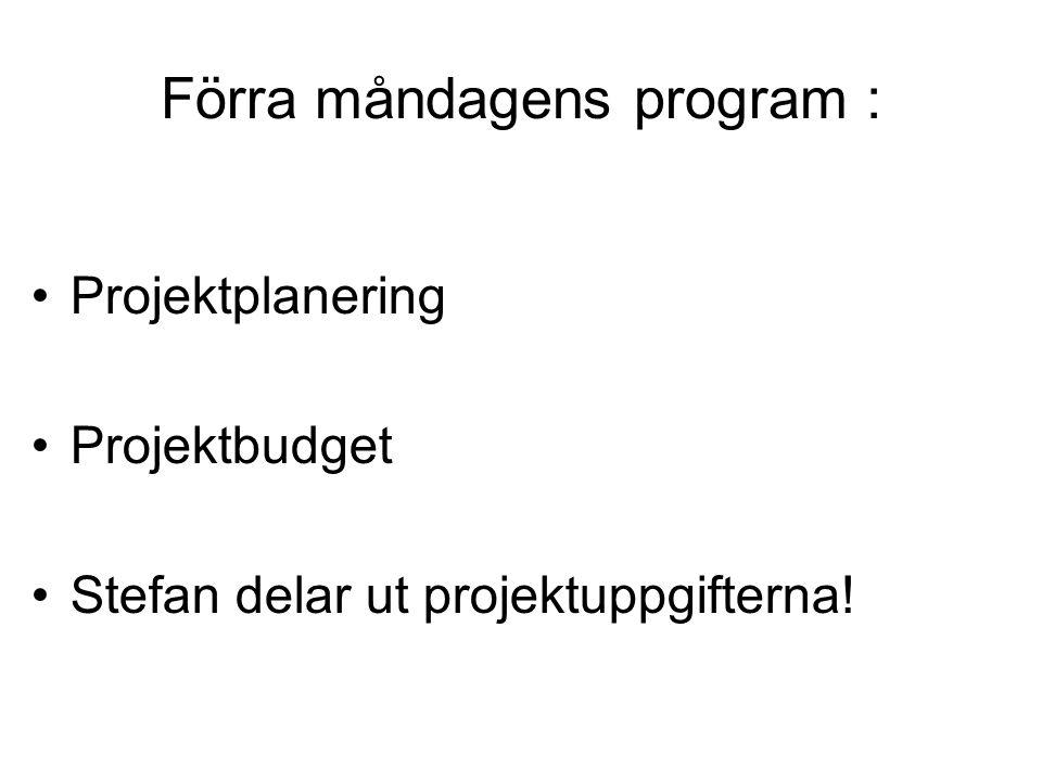 Förra måndagens program : Projektplanering Projektbudget Stefan delar ut projektuppgifterna!