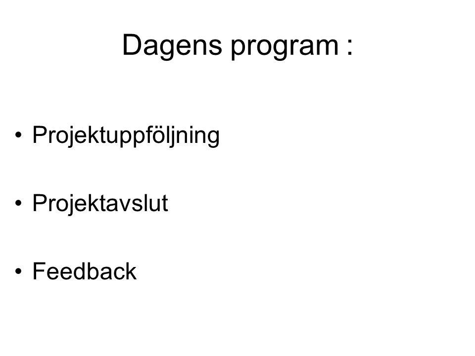 Dagens program : Projektuppföljning Projektavslut Feedback