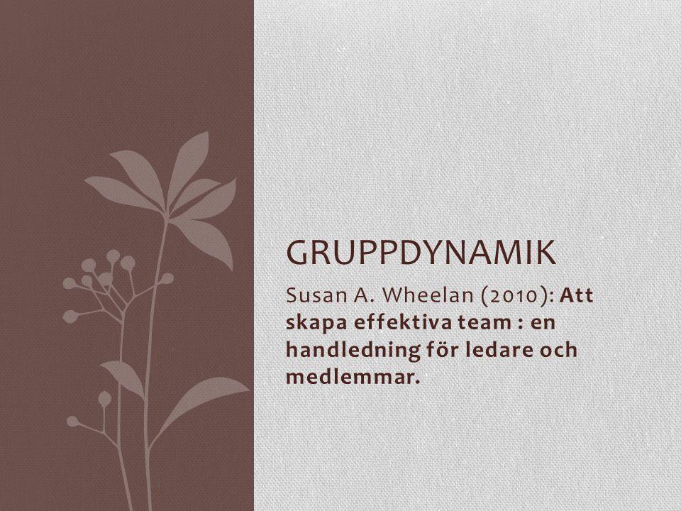 Susan A. Wheelan (2010): Att skapa effektiva team : en handledning för ledare och medlemmar. GRUPPDYNAMIK